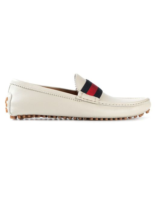 Gucci | Мужское Белый Striped Band Loafers