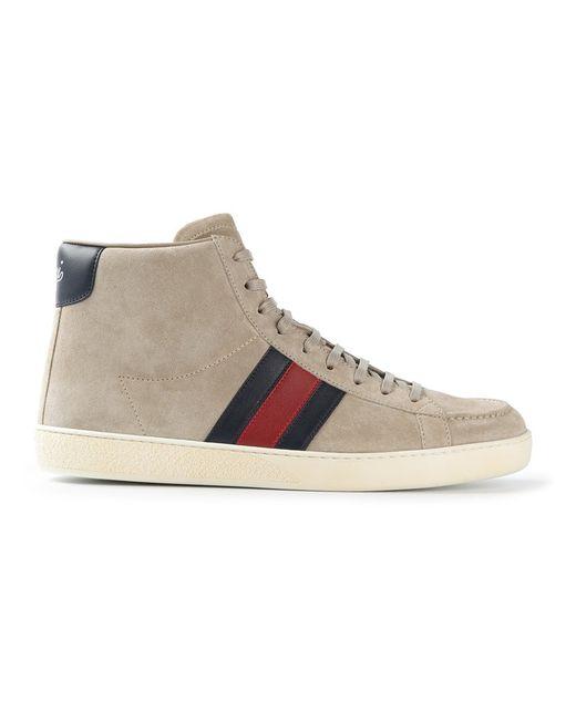 Gucci | Мужское Nude & Neutrals Striped Hi-Top Sneakers