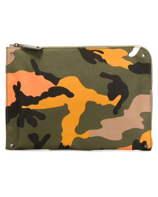 Valentino Garavani   Мужское Зелёный Camouflage Clutch