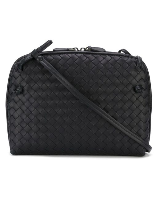 Bottega Veneta   Женское Синий Woven Leather Cross Body Bag