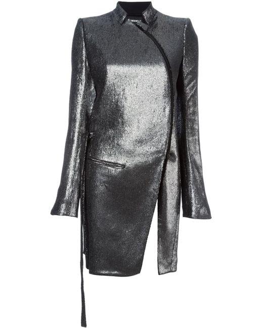 Ann Demeulemeester | Женское Серебристое Пальто С Эффектом Металлик