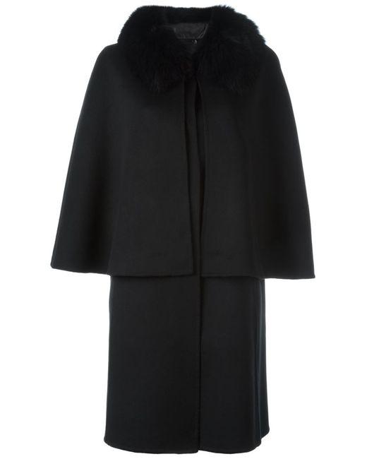 Liska   Женское Чёрный Fox Fur Collar Sleeveless Coat