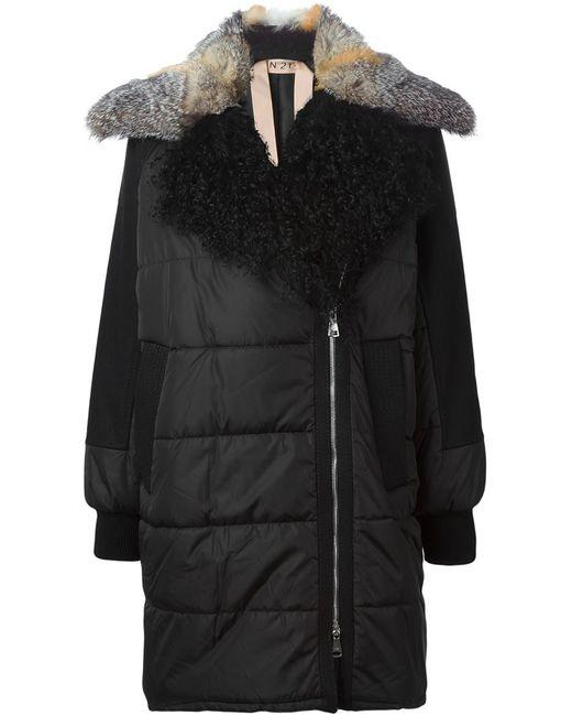 No21 | Женское Чёрный Trimmed Collar Padded Coat