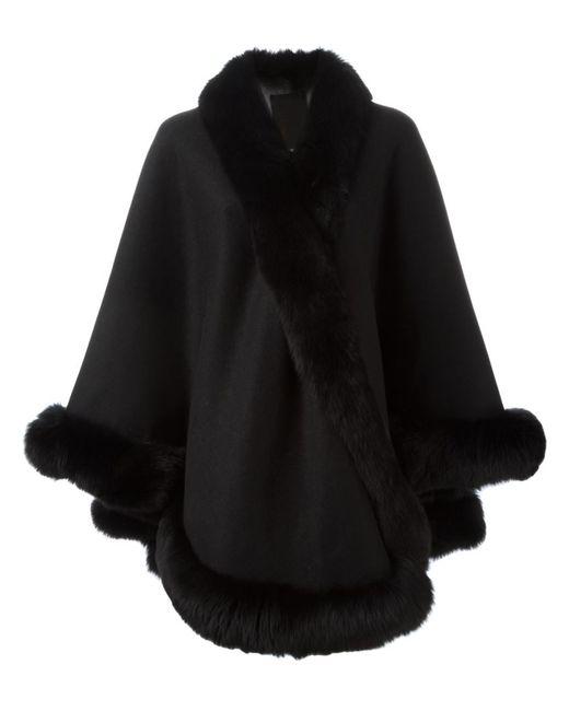 Liska | Женское Чёрный Fox Fur Trim Cape