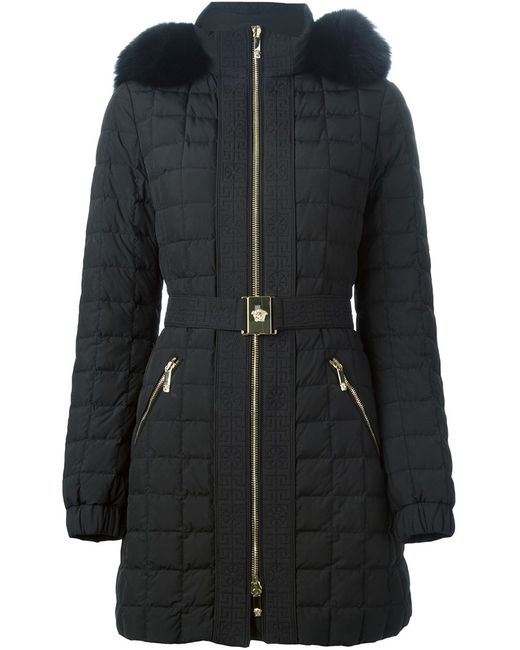Versace   Женское Чёрный Fox Fur Trim Padded Coat