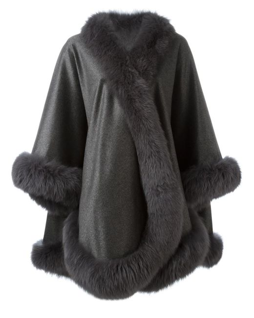 Liska | Женское Серый Fox Fur Trim Cape