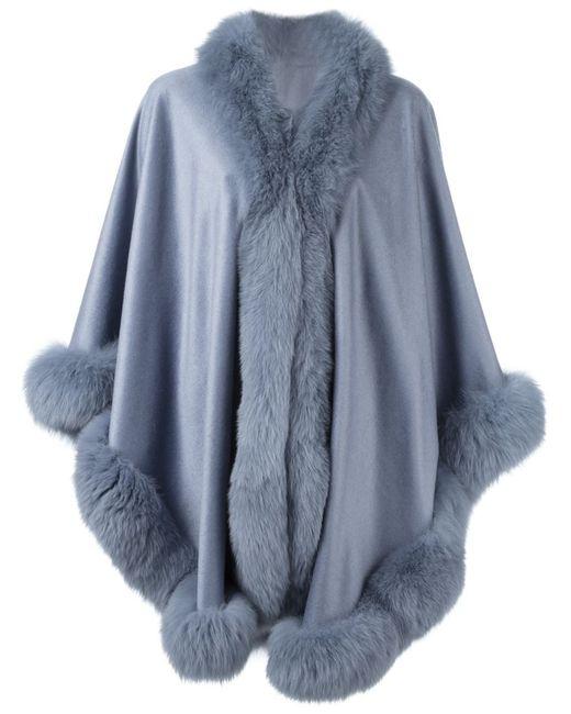 Liska | Женское Синий Fox Fur Trim Cape