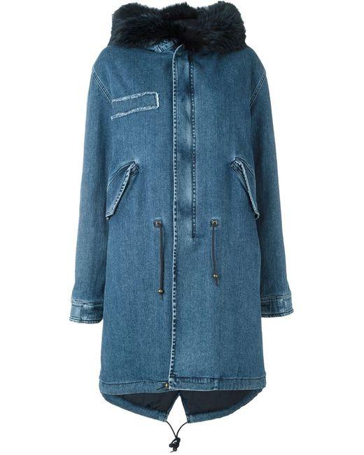 MR & MRS Italy | Женское Синий Fox Fur Trim Denim Parka
