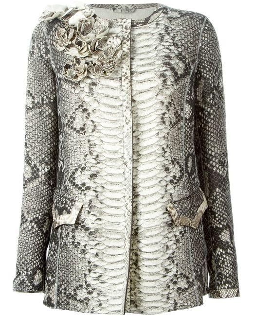 Ermanno Scervino   Женское Серый Python Skin Flower Appliqué Coat