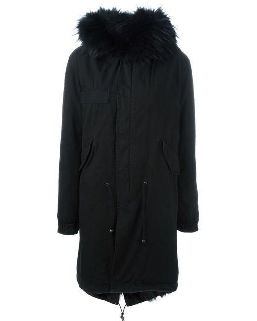MR & MRS Italy   Женское Чёрный Fox And Raccoon Fur Lined Parka