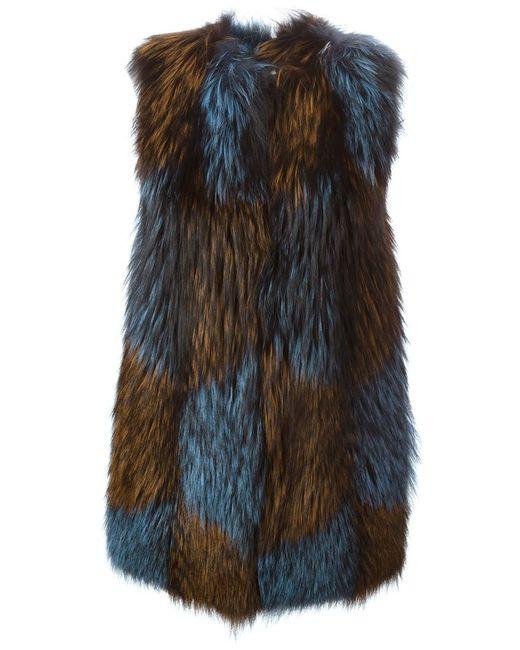 Blancha   Женское Коричневый Fox And Goat Fur Gilet