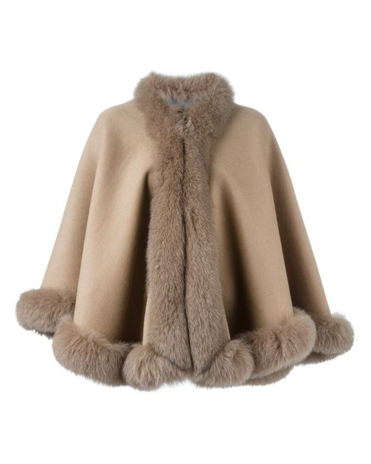 Liska | Женское Nude & Neutrals Fox Fur Trim Cape