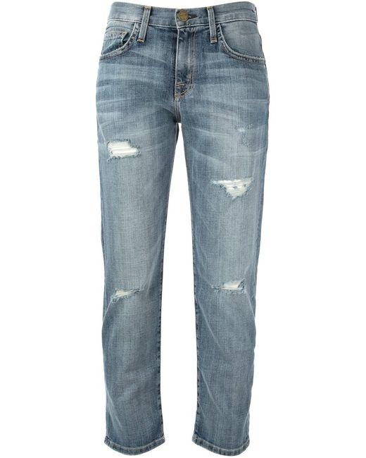 Current/Elliott   Женское Синий Cropped Distressed Jeans