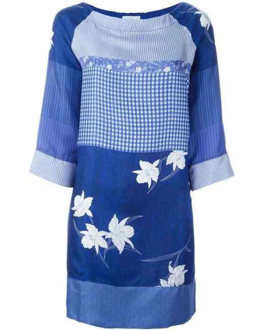 PIERRE-LOUIS MASCIA   Женское Синий Mixed-Print Dress