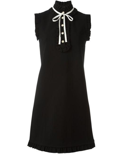 Gucci | Женское Чёрный Frilled Funnel Neck Dress
