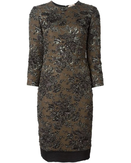 No21 | Женское Коричневый Brocade Fitted Dress