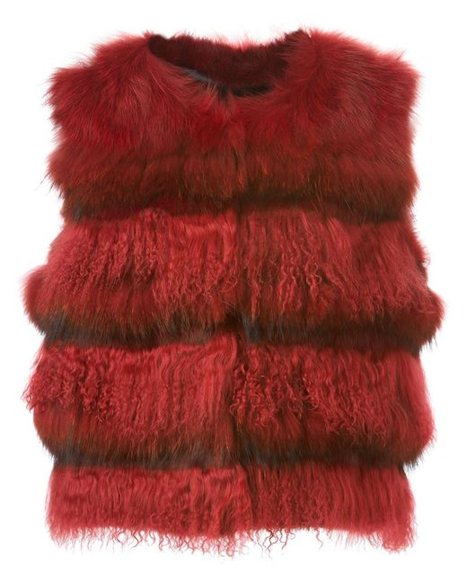 METEO BY YVES SALOMON | Женское Красный Sleeveless Fur Jacket