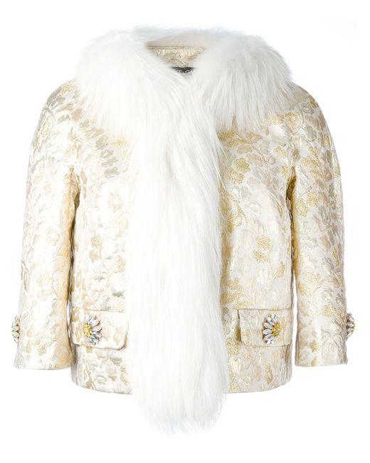 Dolce & Gabbana | Женское Nude & Neutrals Fox Fur Collar Brocade Jacket