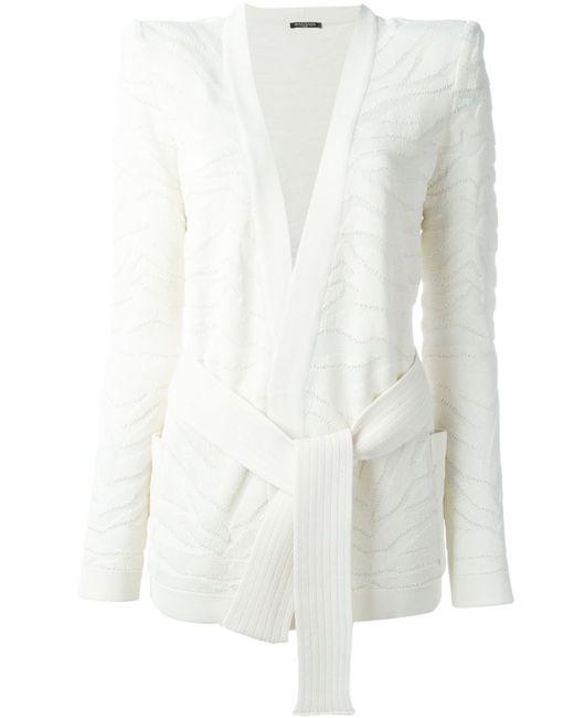 Balmain   Женское Белый Zebra Pattern Cardi-Blazer