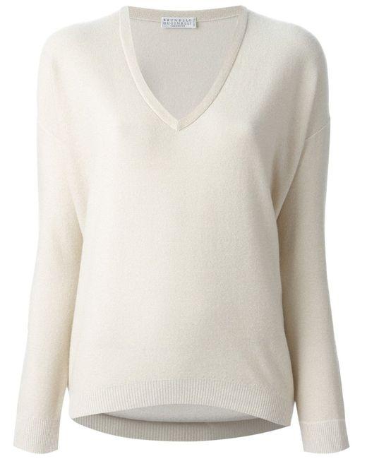 Brunello Cucinelli   Женское Nude & Neutrals V-Neck Sweater