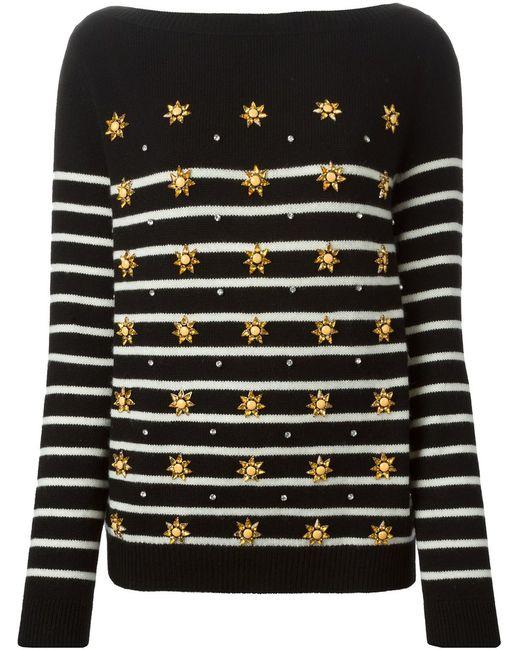 Gucci | Женское Чёрный Star Appliqué Striped Sweater