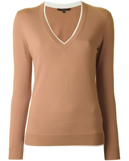 Gucci | Женское Коричневый V-Neck Sweater