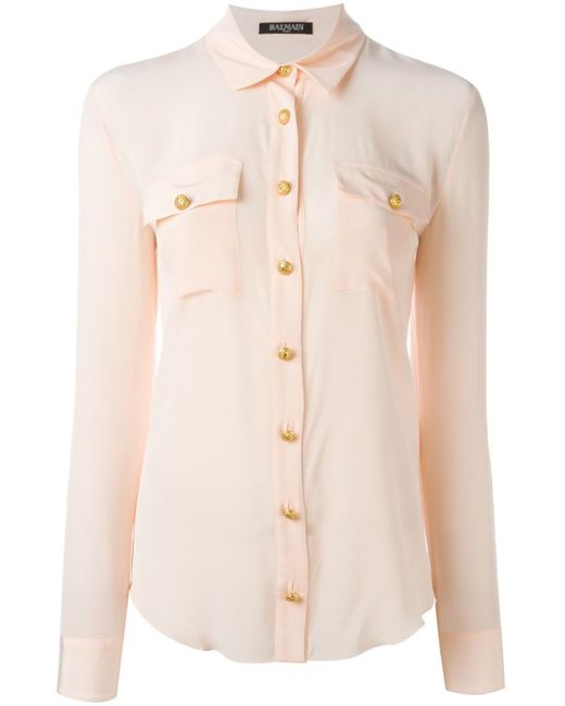 Balmain | Женская Розовая Рубашка С Карманами