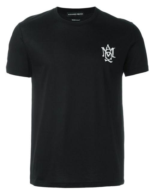Alexander McQueen | Мужская Чёрная Футболка С Вышитым Логотипом