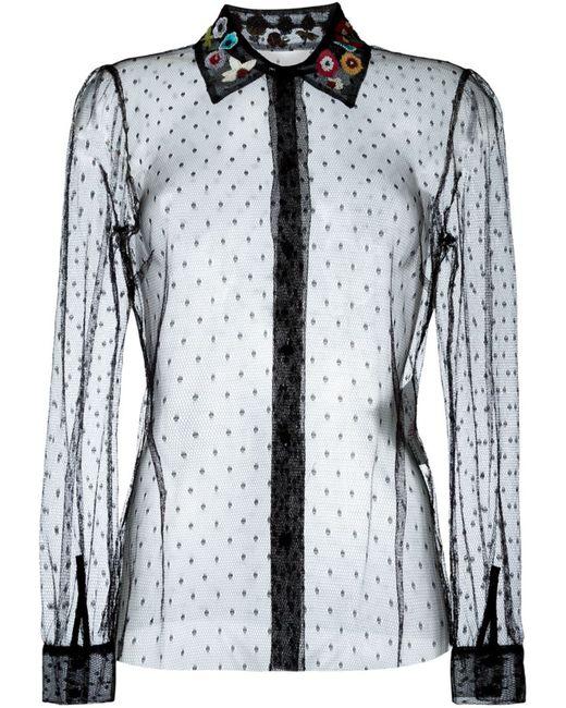 Red Valentino | Женская Чёрная Прозрачная Рубашка С Вышитым Воротником