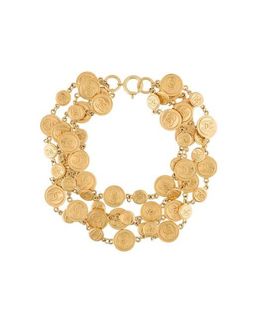 Chanel Vintage   Женское Серебристое Многослойное Ожерелье