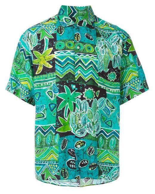 Kenzo | Мужская Зелёная Рубашка С Тропическим Принтом