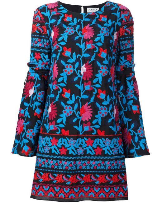 TANYA TAYLOR | Женское Синий Embroidered Flower Shift Dress