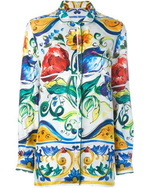Dolce & Gabbana   Женская Многоцветная Рубашка С Принтом Majolica