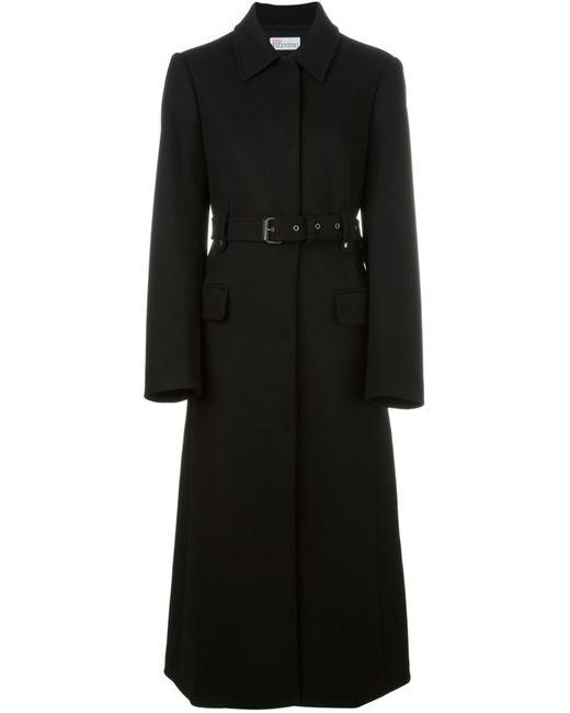 Red Valentino | Женское Чёрное Однобортное Пальто С Поясом