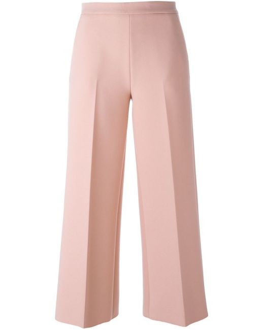 MSGM   Женское Розовый Cropped Flared Trousers