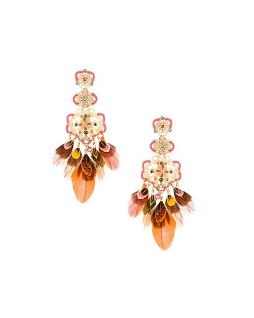 GAS BIJOUX | Женское Красный Tapachula Feather Earrings