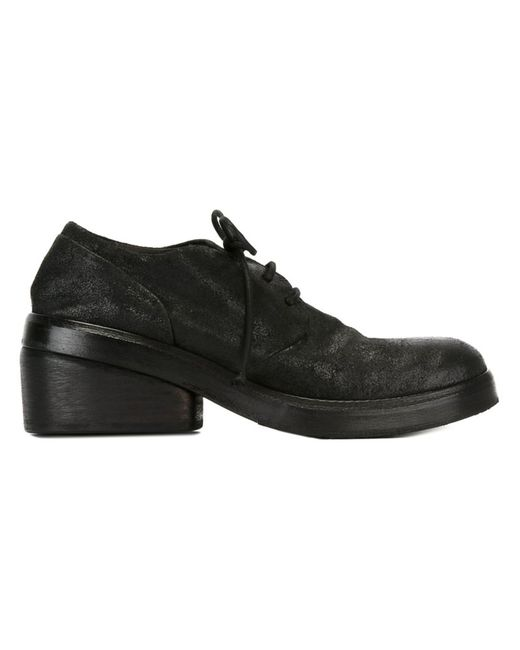 Marsell | Женские Чёрные Туфли На Массивном Каблуке Со Шнуровкой