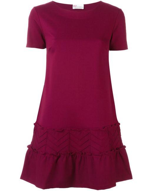 Red Valentino   Женское Красное Платье С Оборками