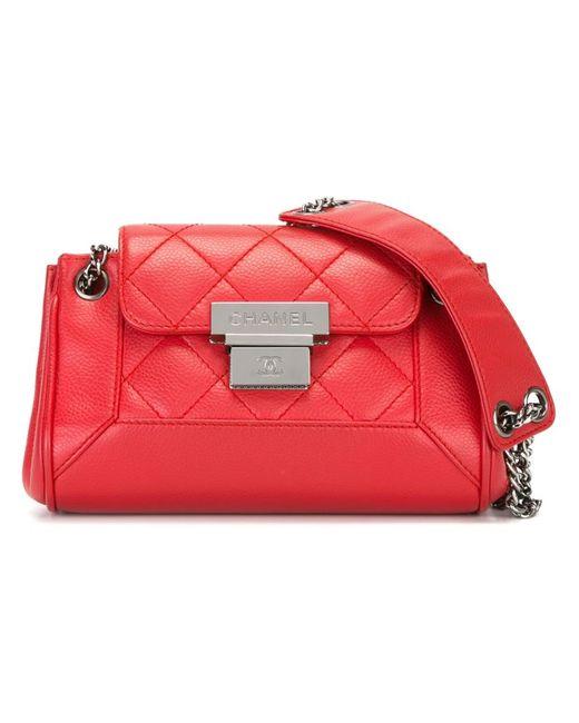 Chanel Vintage   Женская Красная Стеганая Сумка