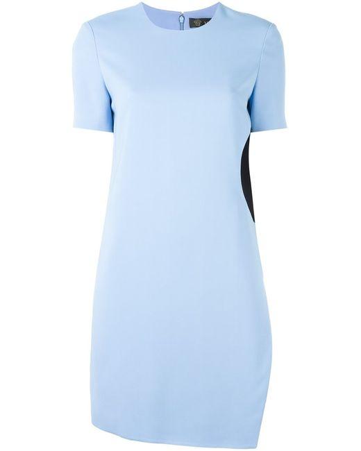Versace | Женское Синее Платье С Контрастной Вставкой