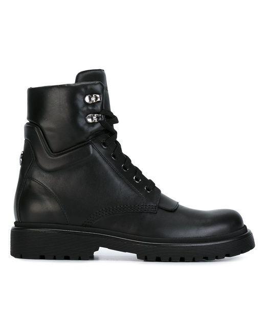 Moncler | Женские Чёрные Ботинки На Шнуровке