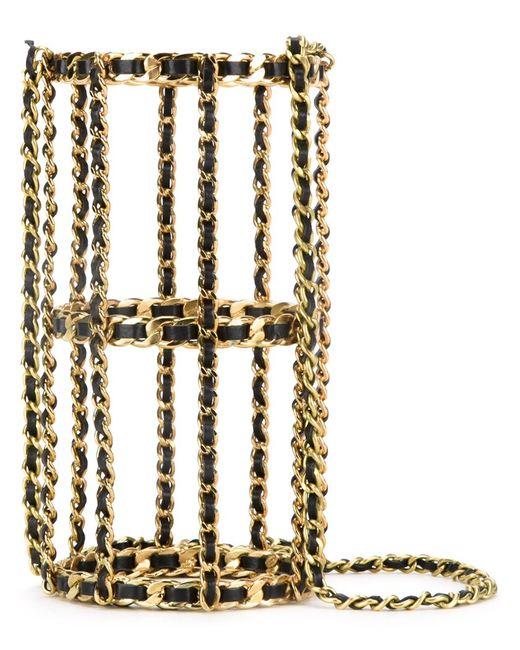 Chanel Vintage   Женская Серебристая Сумка-Клетка На Плечо
