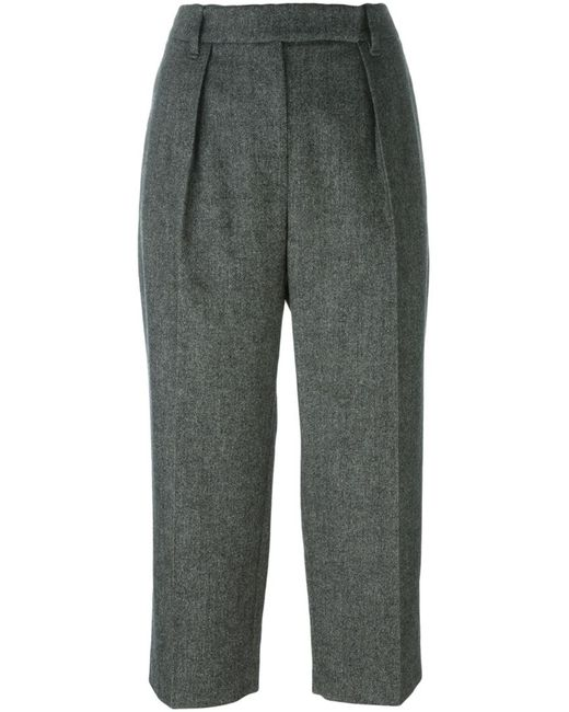 Brunello Cucinelli | Женское Чёрный Front Pleat Cropped Trousers