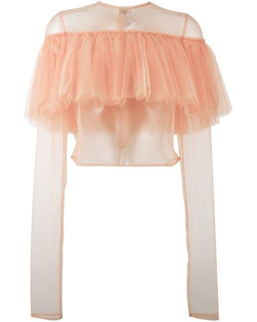 MSGM | Женская Розовая Тюлевая Блузка С Оборками