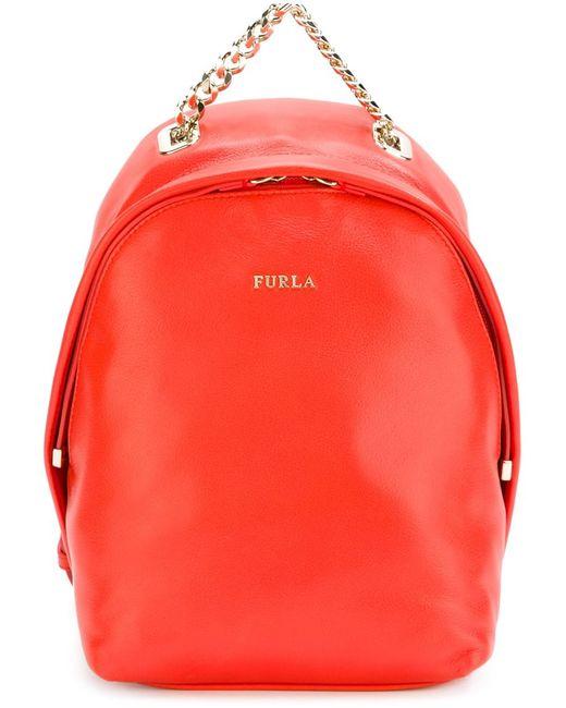 Furla | Женский Жёлтый Маленький Рюкзак С Цепочной Ручкой