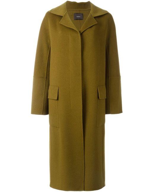 Odeeh   Женское Зелёное Длинное Пальто