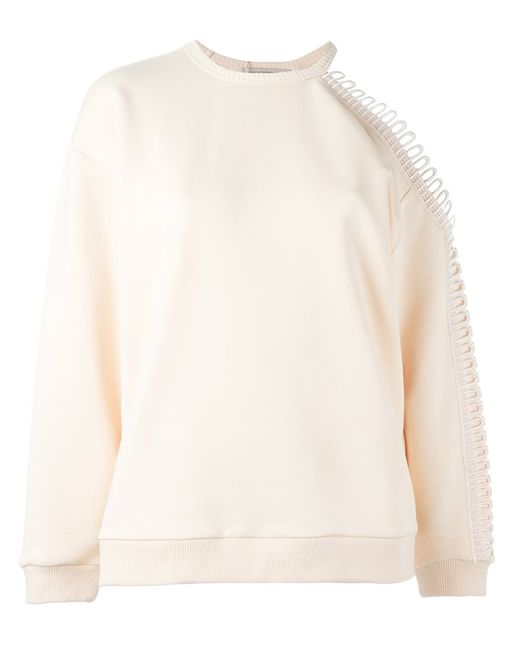 Christopher Kane | Женское Nude & Neutrals Loop Detail Cold Shoulder Sweatshirt