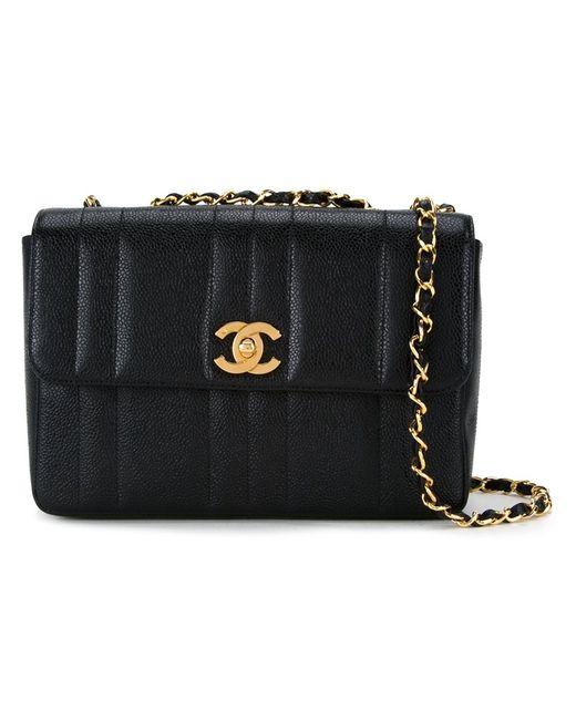 Chanel Vintage   Женская Чёрная Сумка На Плечо С Откидным Клапаном