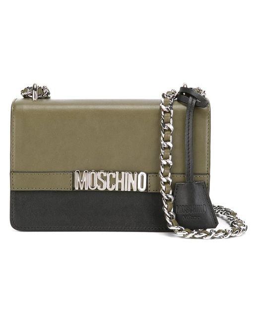 Moschino | Женская Зелёная Сумка На Плечо С Логотипом