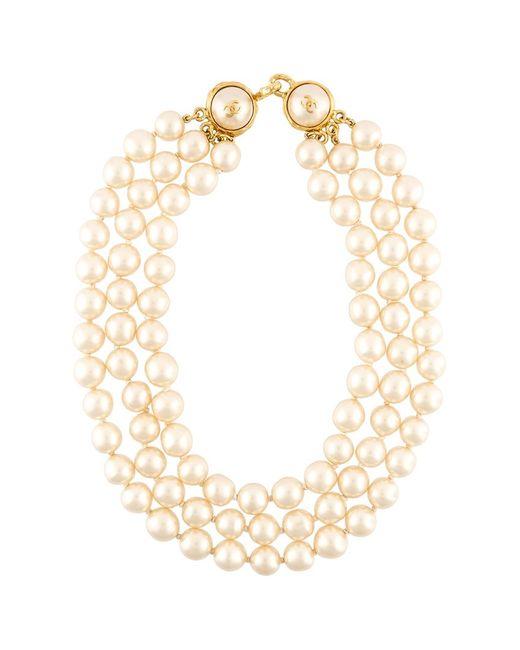 Chanel Vintage | Женское Белое Ожерелье Из Искусственного Жемчуга